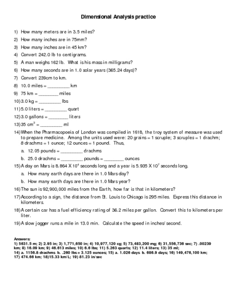 ap physics dimensional analysis worksheet answers - streamclean.info