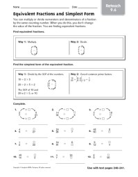 Equivalent Fractions And Simplest Form Worksheet Free ...