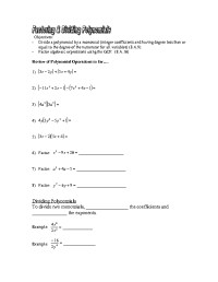Dividing A Polynomial By A Monomial Worksheet Free ...
