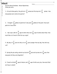 Fraction Word Problems 3rd Grade Worksheets