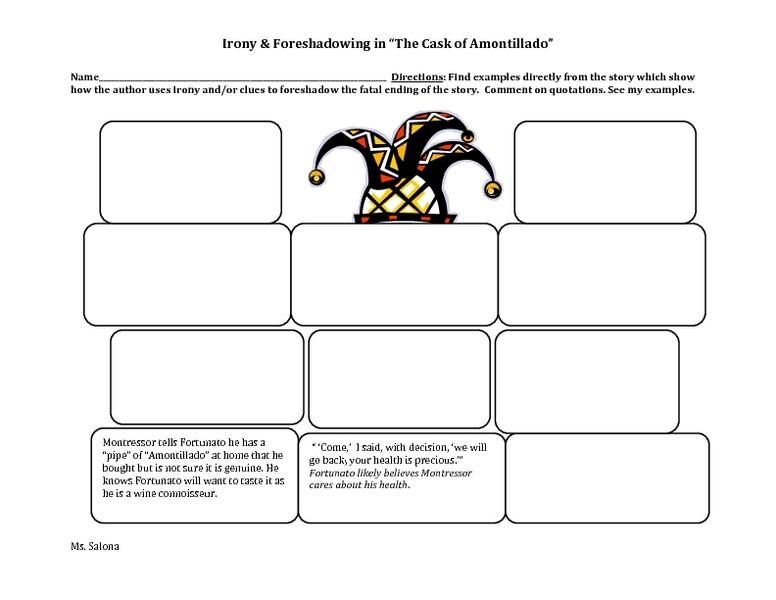 Cask of amontillado essay outline