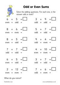 2nd Grade Math Worksheets Even And Odd Numbers
