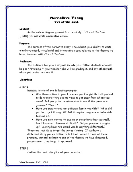 Tips On How To Write A Narrative Essay Mistyhamel