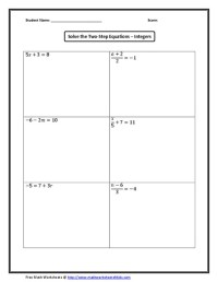 Solving Multi Step Equations Worksheet 8th Grade - 7th ...