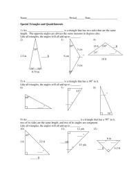 Special Right Triangles Worksheet 30 60 90 Answers Free ...