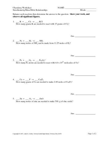 worksheet mole relationships