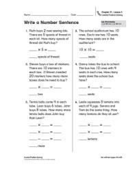 Number Sentence Worksheets 3Rd Grade Free Worksheets ...
