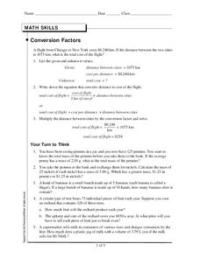Conversion Factors Worksheet for 8th - 12th Grade | Lesson ...