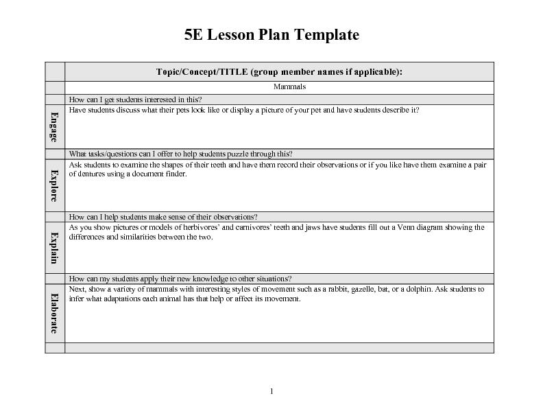 Math Lesson Plan Template - Resume Template Ideas