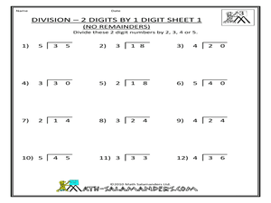 Division 2 Digits By 1 Digit No Remainders Sheet 1