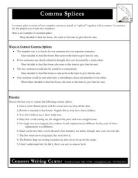 Comma Splices Worksheet for 7th - 12th Grade | Lesson Planet