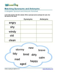 All Worksheets  Identifying Synonyms And Antonyms ...