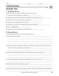 Geologic Time Worksheet for 9th - 12th Grade | Lesson Planet