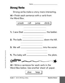 Strong Verbs Worksheet For 2nd 3rd Grade Lesson Planet