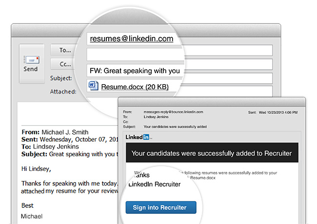 Adding Resumes to Recruiter Now As Easy As Sending an Email - email with resume