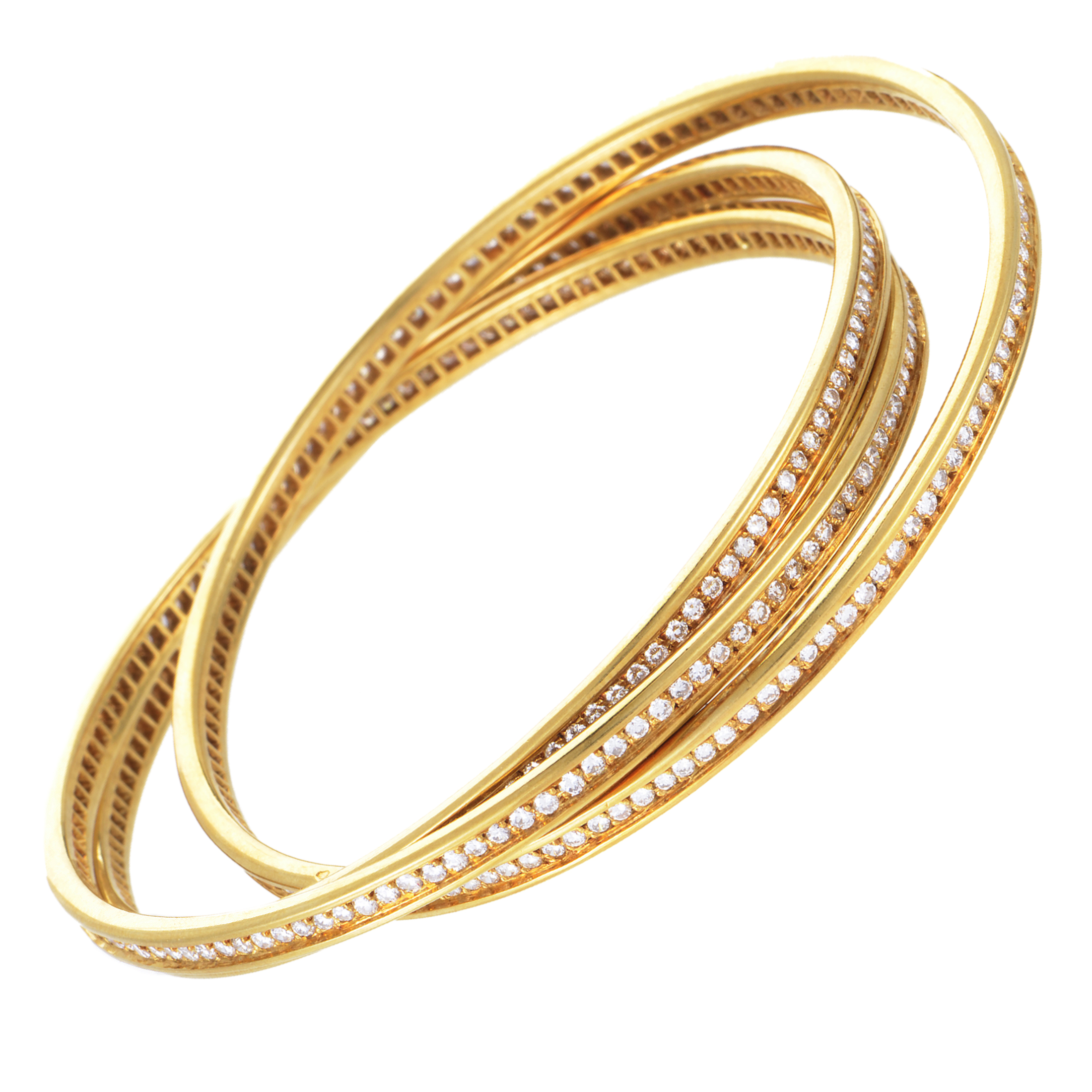 Cartier Womens 18k Yellow Gold Diamond Pave Rolling Bangle