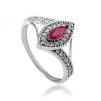 Rings Women's 14K White Gold Diamond & Ruby Ring R1505P006 ...