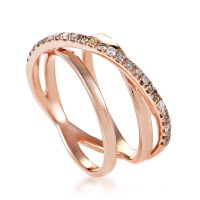 Women's 18K Rose Gold White & Brown Diamond Crossover Band