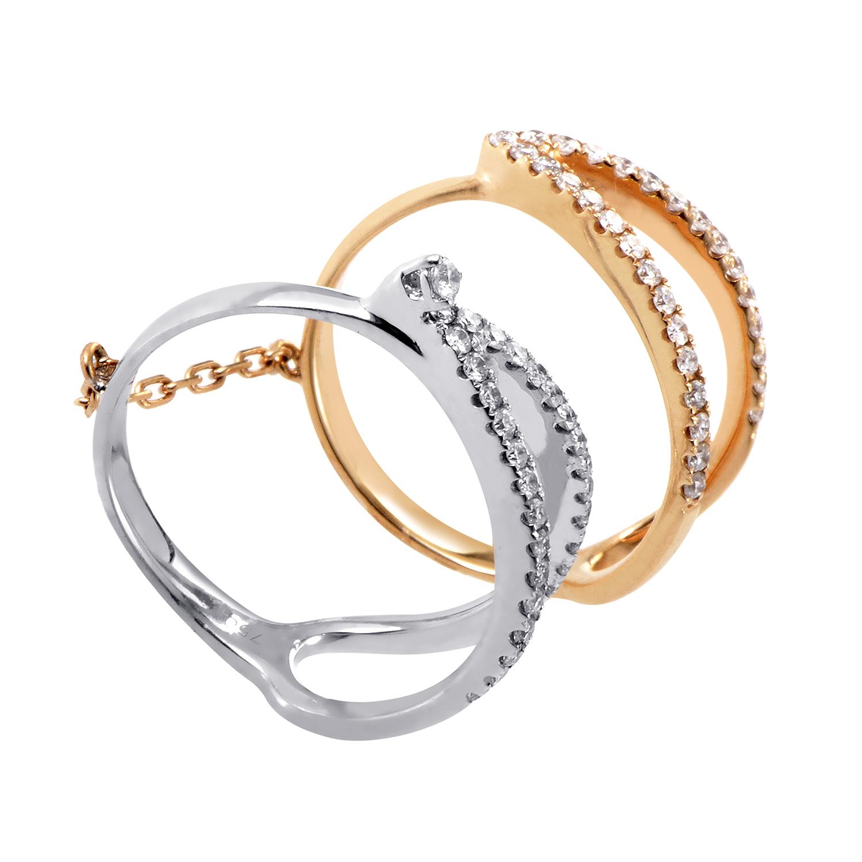 18K White & Rose Gold Diamond Double Ring KOT61631GRBZRZ