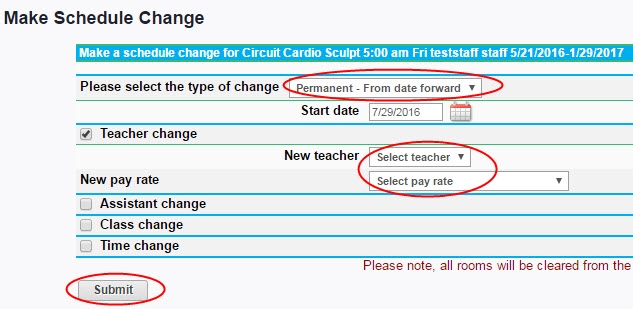 Changing teachers for classes