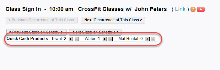 Use Quick Cash products on the class sign-in sheet - class sign in sheet