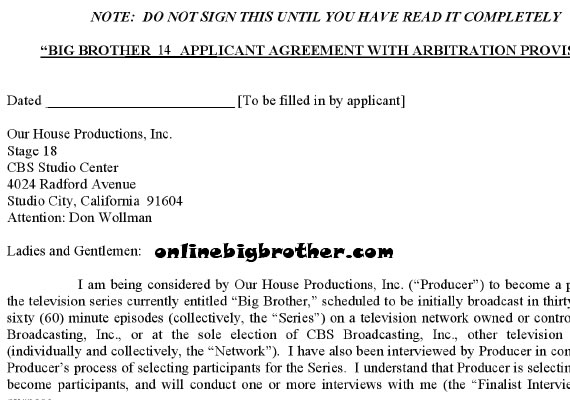 Big Brother 14 Legal Contract - legal contract