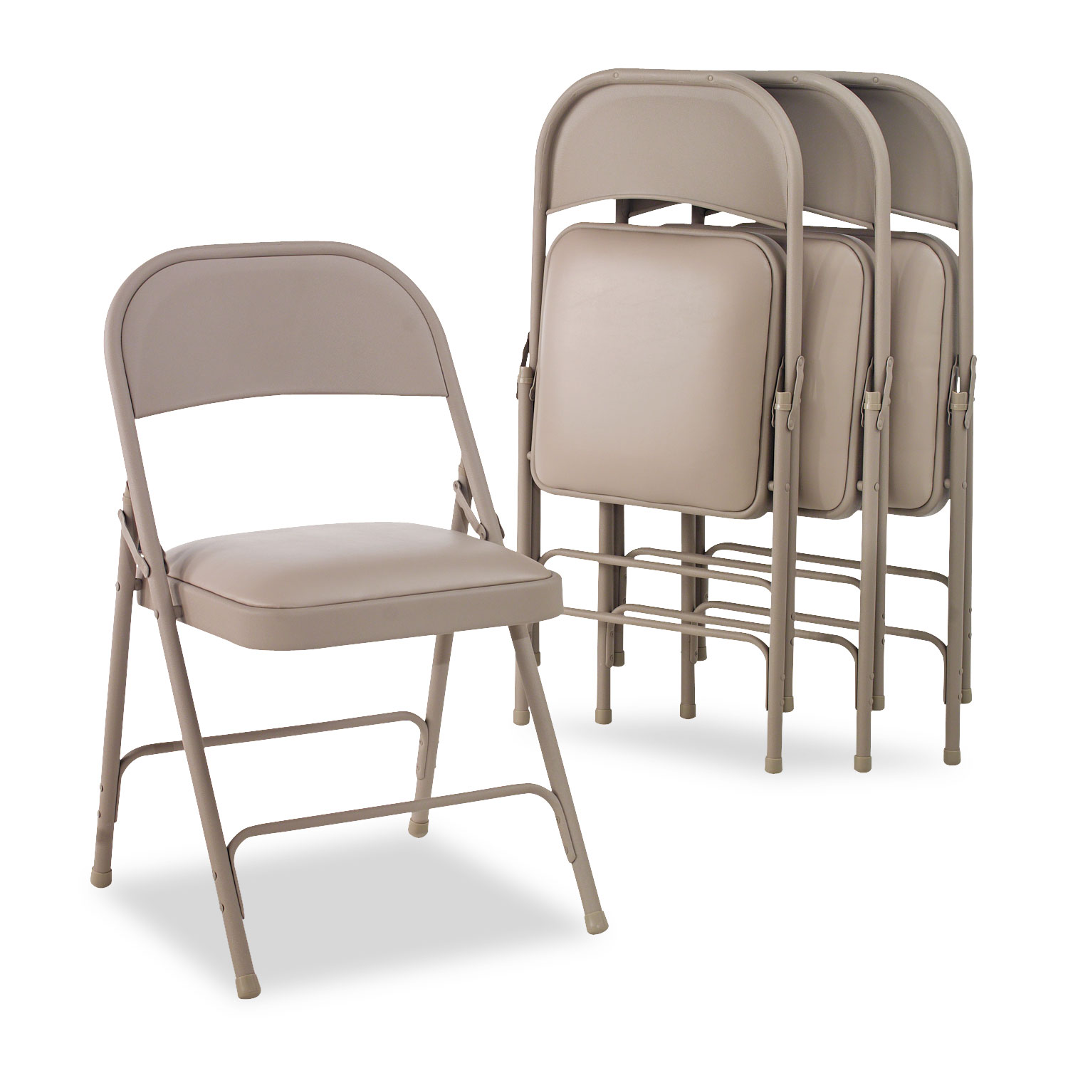 Chairs Folding Steel Folding Chair With Two Brace Support Padded Seat Tan 4