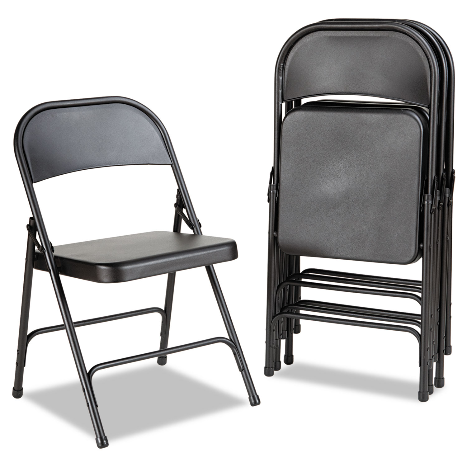 Chairs Folding Steel Folding Chair With Two Brace Support Graphite 4 Carton