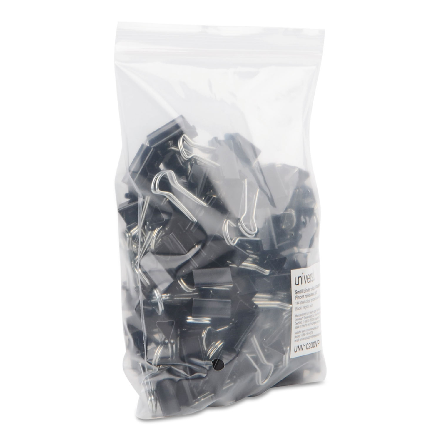Clip Seal Bags Binder Clips In Zip Seal Bag Small Black Silver 144