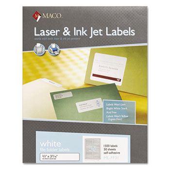Laser/Inkjet White File Folder Labels by MACO® MACMLFF31