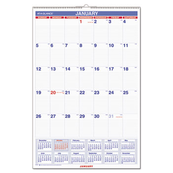 Monthly Wall Calendar with Ruled Daily Blocks by AT-A-GLANCE