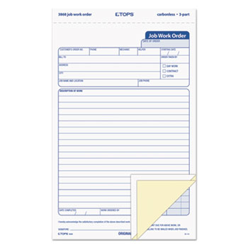 Snap-Off Job Work Order Form by TOPS™ TOP3868 - OnTimeSupplies