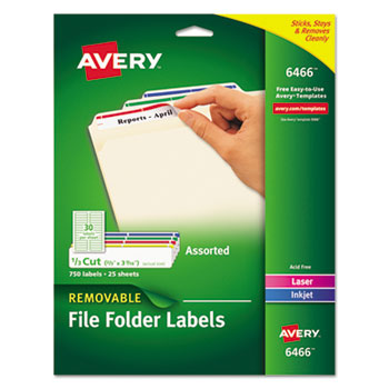 Removable 1/3-Cut File Folder Labels by Avery® AVE6466