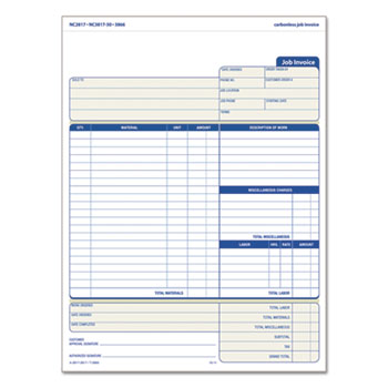 Snap-Off Job Invoice Form by TOPS™ TOP3866 - OnTimeSupplies