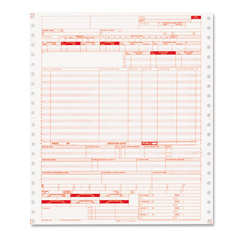 UB04 Insurance Claim Form, 2-Part, White/Canary, 9 1/2 x 11, 1000