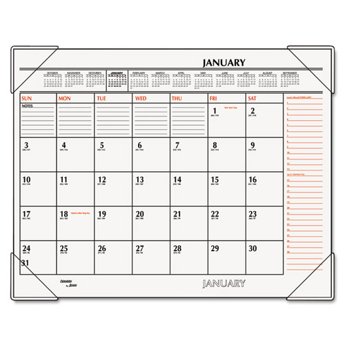 AT-A-GLANCE Two-Color Monthly Desk Pad Calendar, 22 x 17, 2019