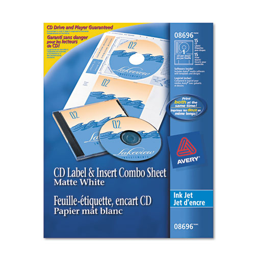 CD/DVD Label and Insert Combo Sheets, Matte White, 20 Labels and