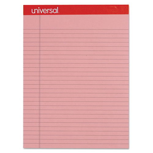 Colored Perforated Ruled Writing Pad, Legal, 8 1/2 x 11 3/4, Pink - colored writing paper