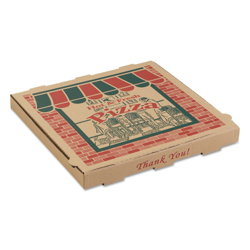 Corrugated Pizza Boxes, 10 x 10 x 1 3/4, Kraft, 50/Carton - Pacific Ink