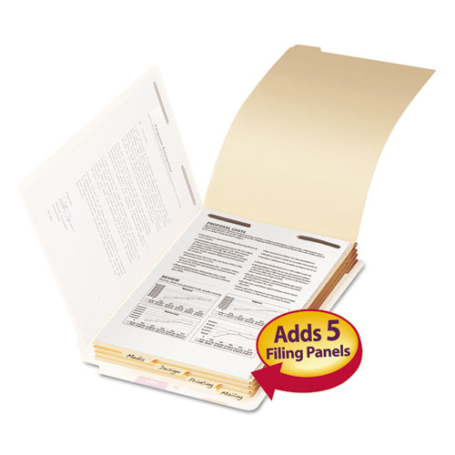 File Folder Dividers with Fastener, Bottom 1/5-Cut Tab, Legal Size