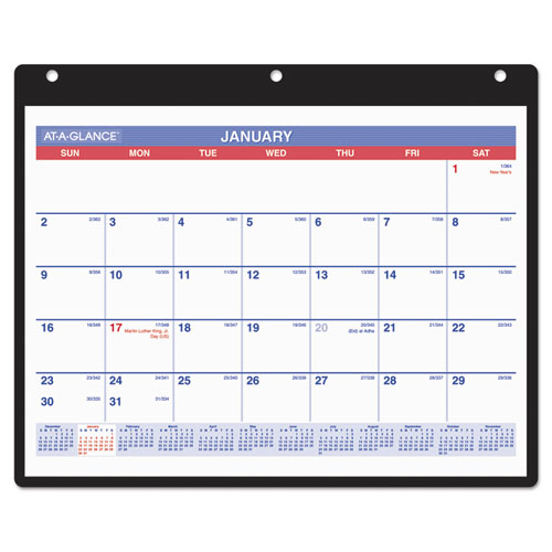 AT-A-GLANCE Monthly Desk/Wall Calendar, 11 x 8 1/4, White, 2019 - AAGSK800