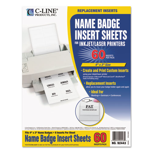 Name Badge Inserts, 4 x 3, White, 60/Pack - Comp-U-Charge Inc