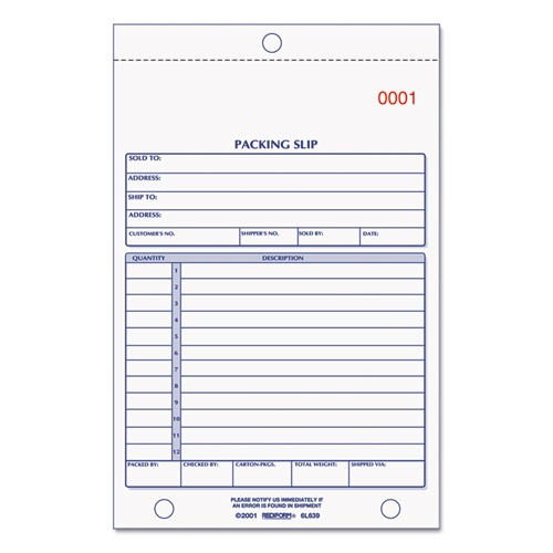 Rediform® Packing Slip Book, 5 9/16 x 7 15/16, Carbonless Triplicate