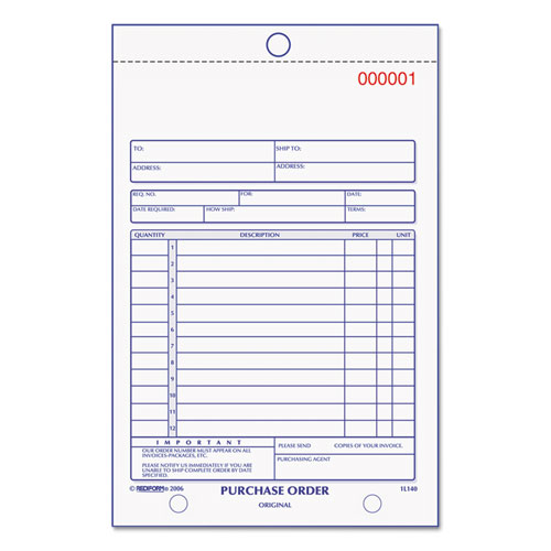 Purchase Order Book, Bottom Punch, 5 1/2 x 7 7/8, Two-Part