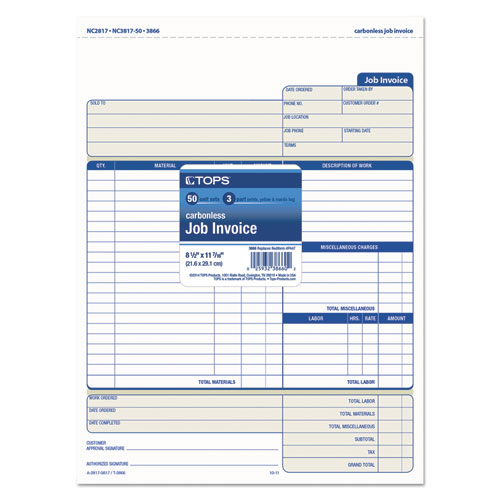 Snap-Off Job Invoice Form, 8 1/2 x 11 5/8, Three-Part Carbonless, 50