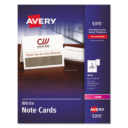 Avery Note Cards, Laser Printer, 4 1/4 x 5 1/2, Uncoated White, 60