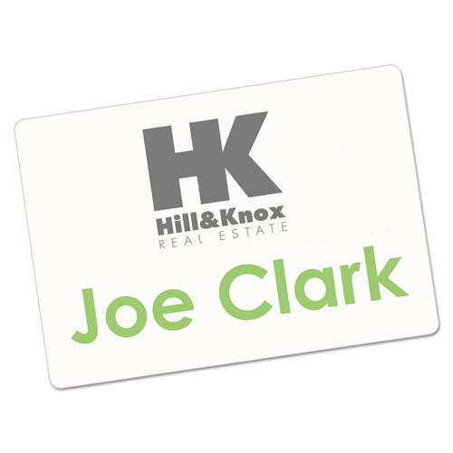 Printable Adhesive Name Badges, 2 1/3 x 3 3/8, White, 100/Pack