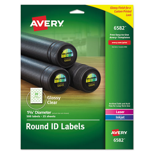 Avery® Round Print-to-the-Edge Permanent Labels, 1 2/3\