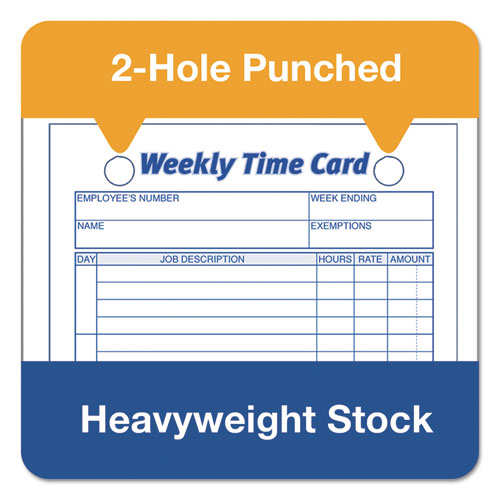 Employee Time Card, Weekly, 4 1/4 x 6 3/4, 100/Pack - take-a-bytenet