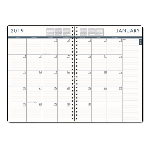 Recycled 24/7 Daily Appointment Book/Monthly Planner, 7 x 10, Black